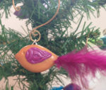 Bird Ornament (Orange with Fuchsia)