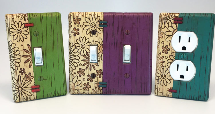 NEW faux weathered painted wood light switch plates