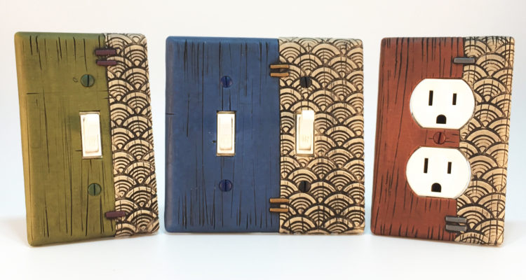 NEW! textured faux weathered painted wood light switch plates