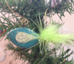 Bird Ornament (turquoise with lime green)