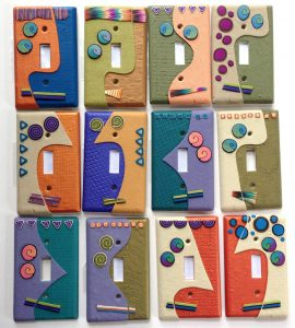 Abstract Face Light Switch Plates