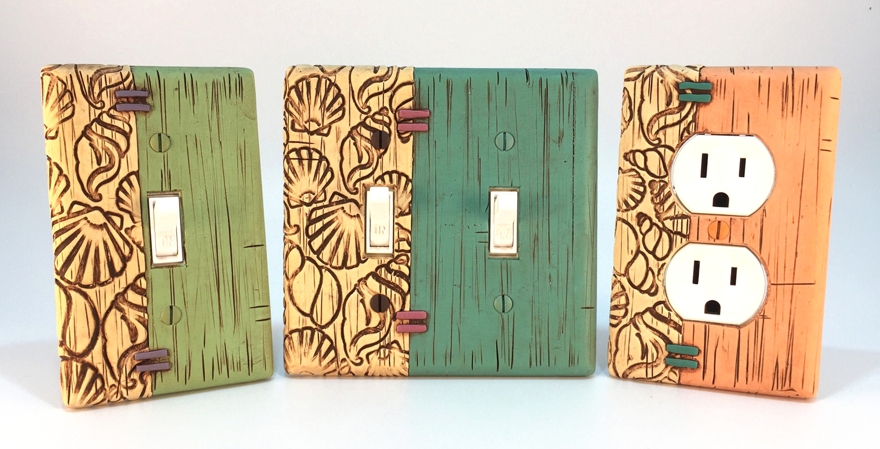 Sea Shells & Faux Weathered Painted Wood Light Switch Plates
