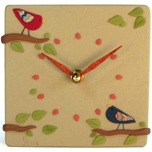 Birds on Green Clock