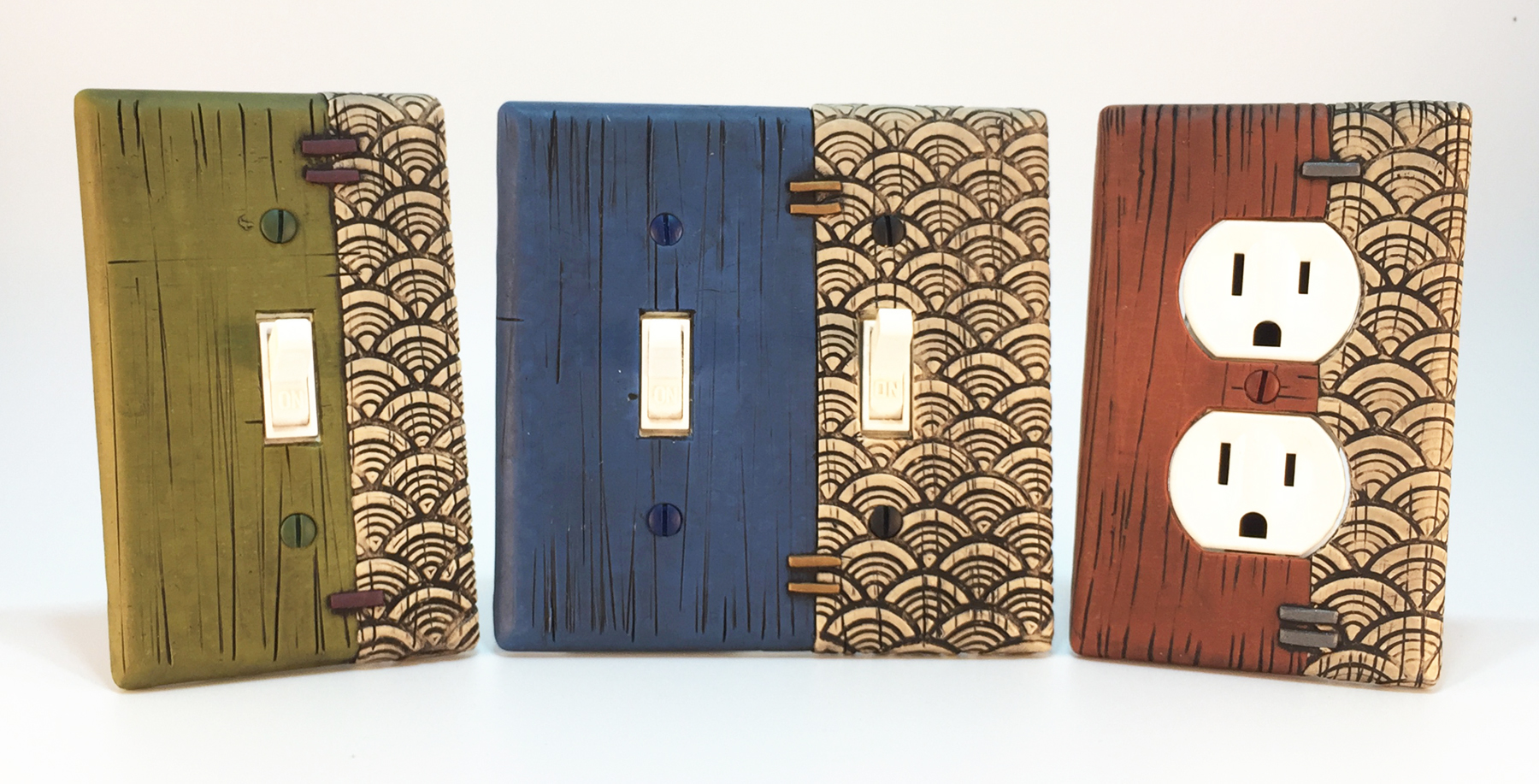 Japanese Waves & Faux Weathered Painted Wood Light Switch Plates